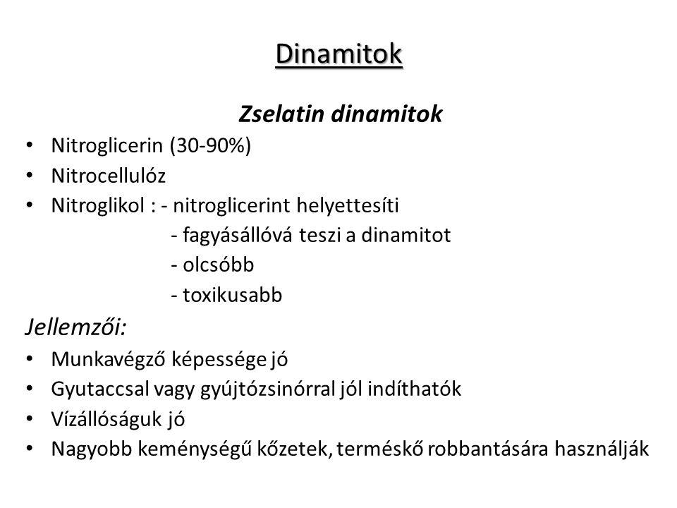 Dinamitok Zselatin dinamitok Jellemzői: Nitroglicerin (30-90%)