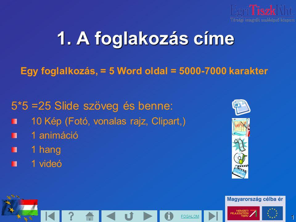 1. A foglakozás címe 5*5 =25 Slide szöveg és benne: