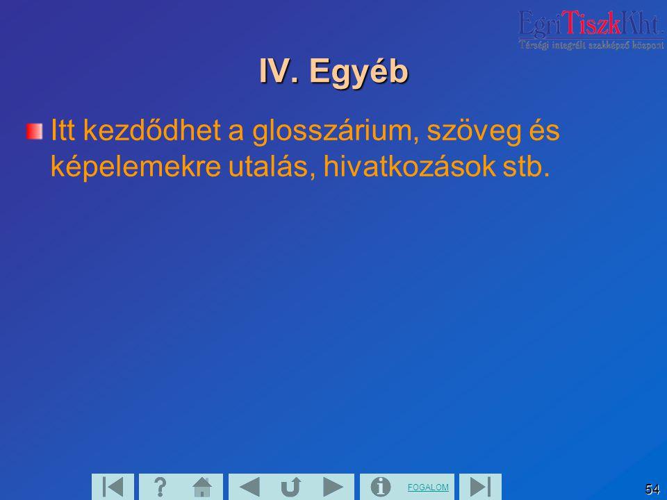 IV. Egyéb Itt kezdődhet a glosszárium, szöveg és képelemekre utalás, hivatkozások stb.