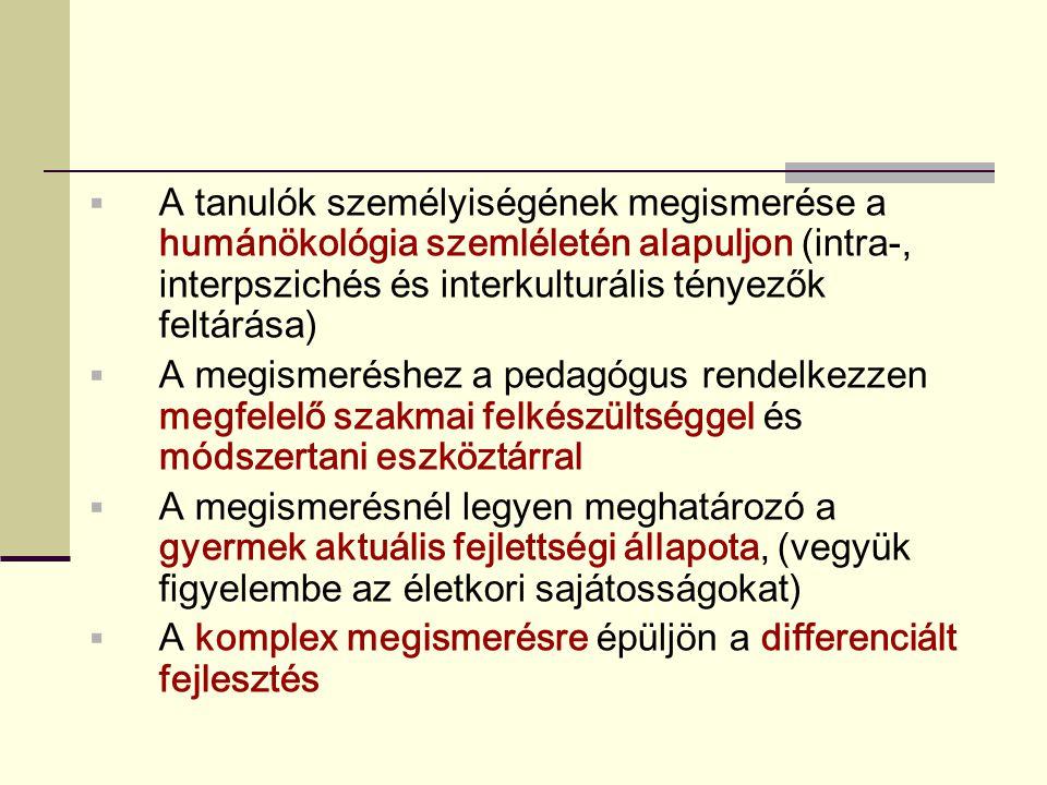 A tanulók személyiségének megismerése a humánökológia szemléletén alapuljon (intra-, interpszichés és interkulturális tényezők feltárása)