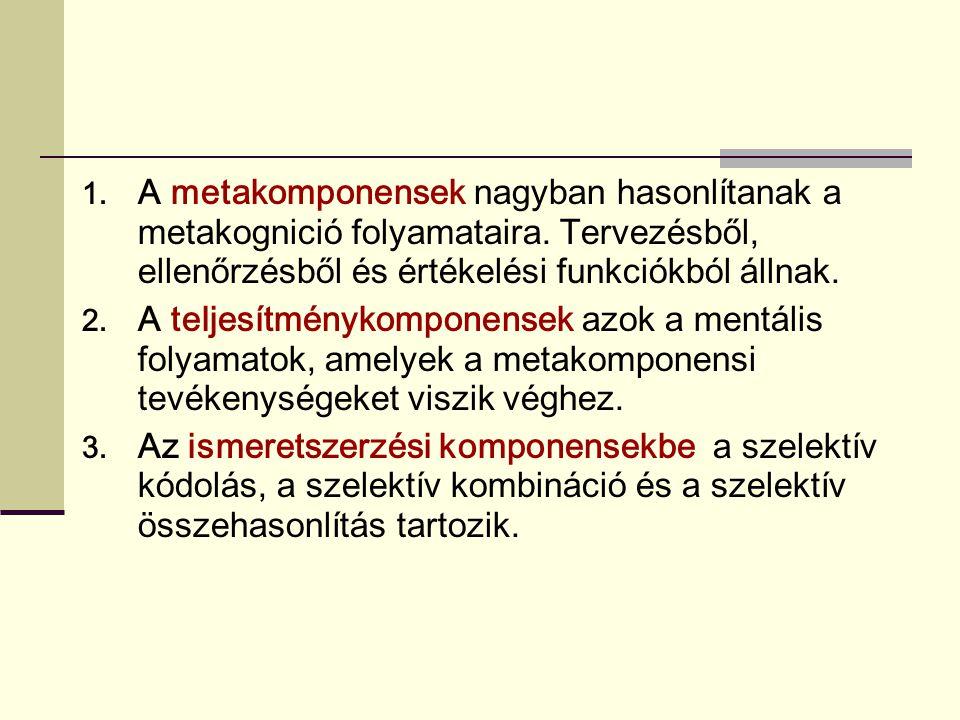 A metakomponensek nagyban hasonlítanak a metakognició folyamataira