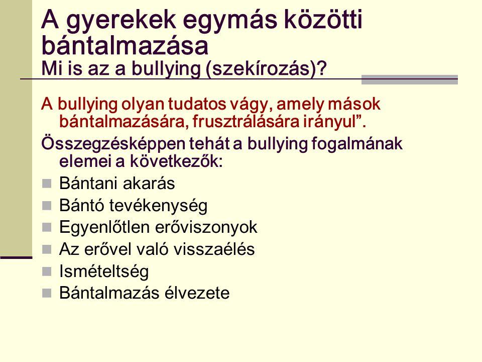 A gyerekek egymás közötti bántalmazása Mi is az a bullying (szekírozás)