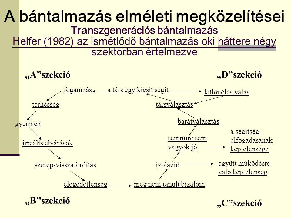 A bántalmazás elméleti megközelítései Transzgenerációs bántalmazás Helfer (1982) az ismétlődő bántalmazás oki háttere négy szektorban értelmezve