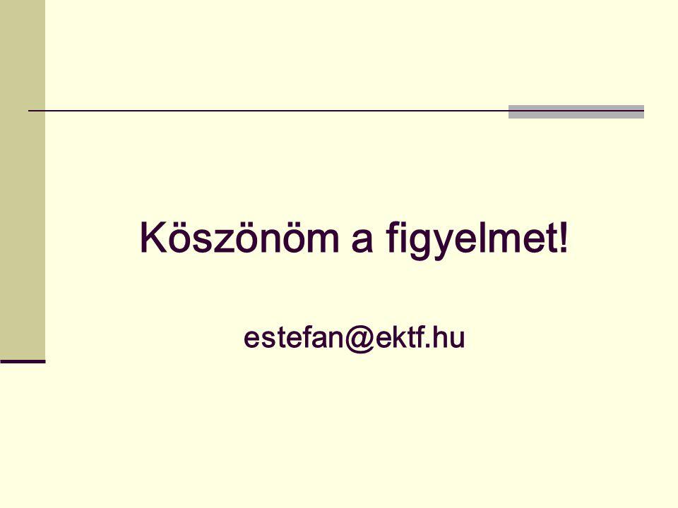 Köszönöm a figyelmet! estefan@ektf.hu