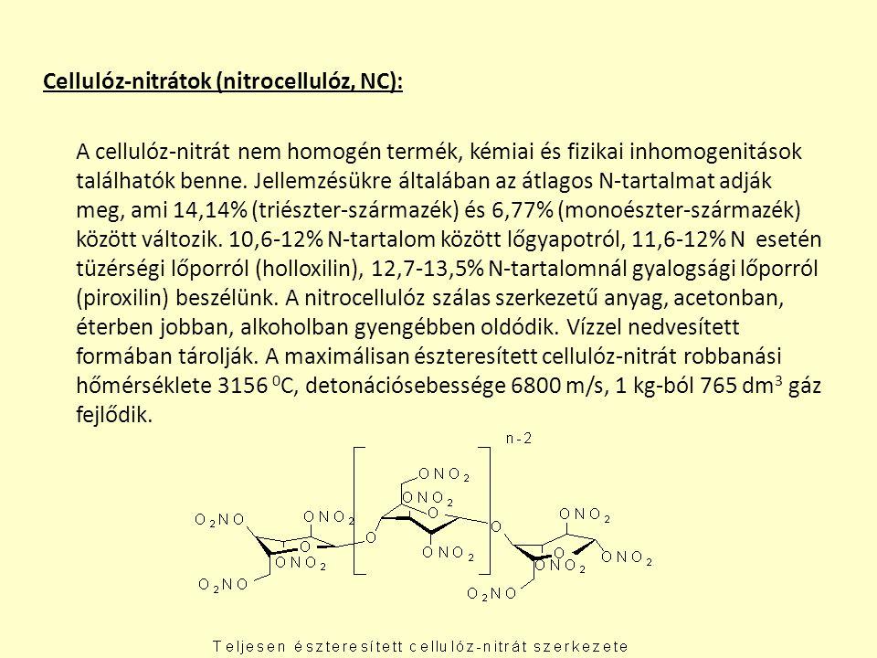 Cellulóz-nitrátok (nitrocellulóz, NC): A cellulóz-nitrát nem homogén termék, kémiai és fizikai inhomogenitások találhatók benne.