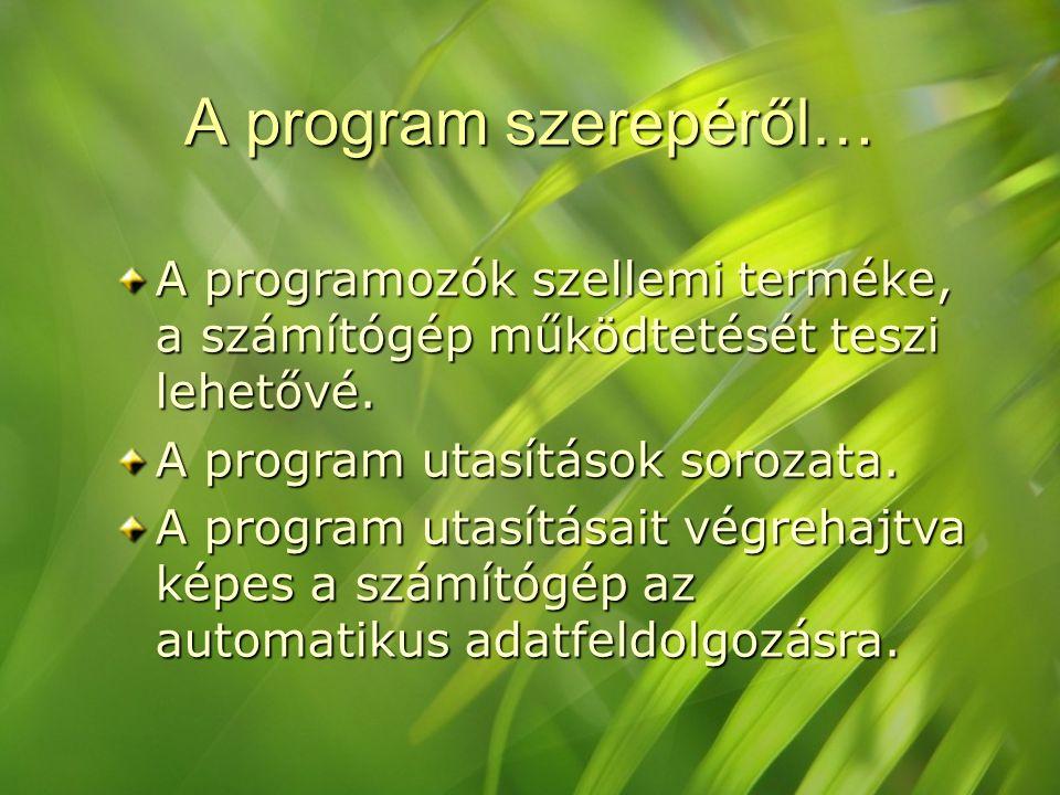 A program szerepéről… A programozók szellemi terméke, a számítógép működtetését teszi lehetővé. A program utasítások sorozata.