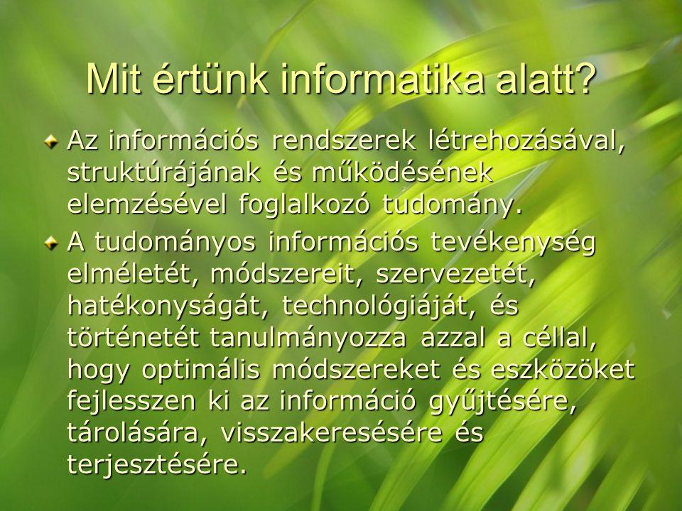 Mit értünk informatika alatt