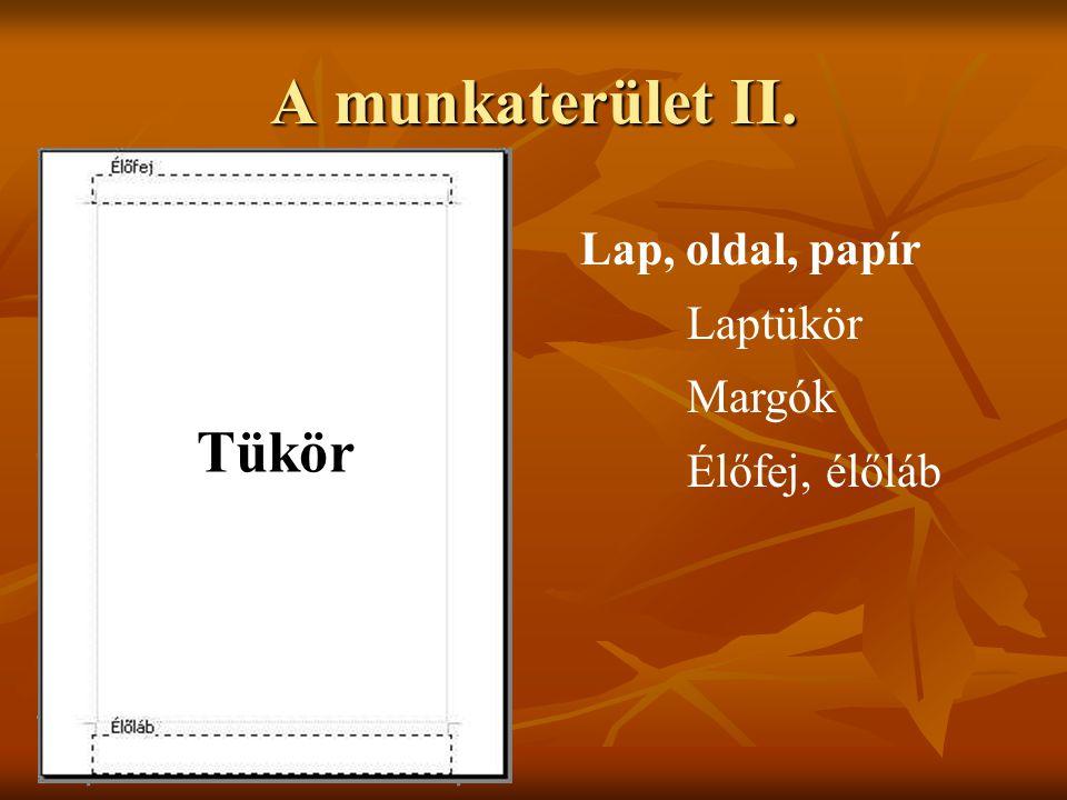 A munkaterület II. Tükör Lap, oldal, papír Laptükör Margók