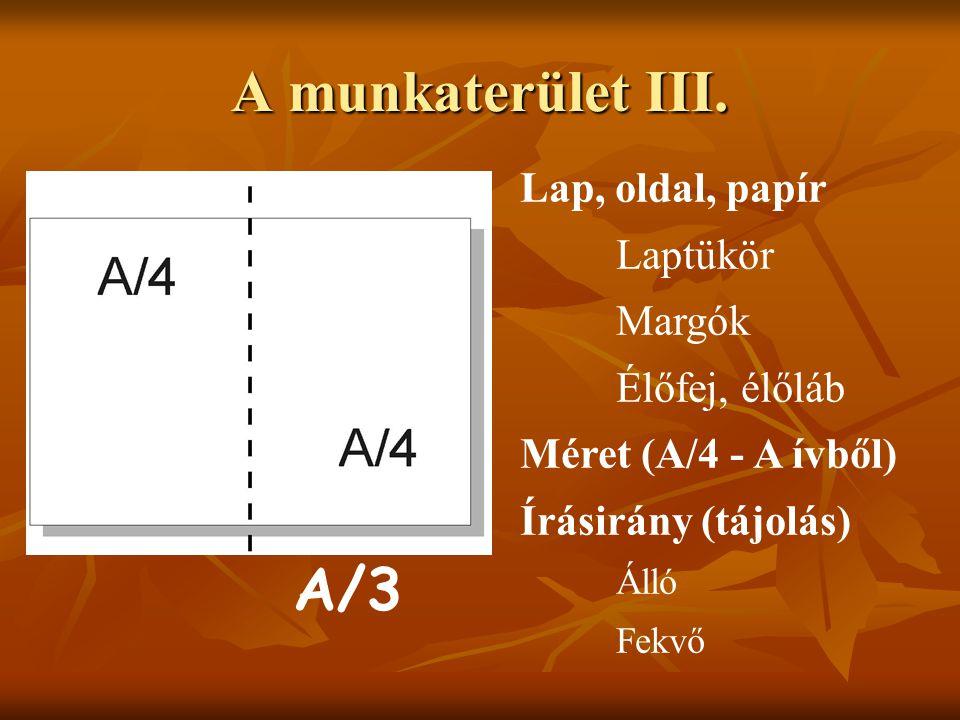 A munkaterület III. A/3 Lap, oldal, papír Laptükör Margók
