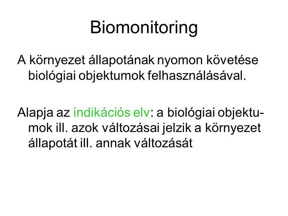 Biomonitoring A környezet állapotának nyomon követése biológiai objektumok felhasználásával.