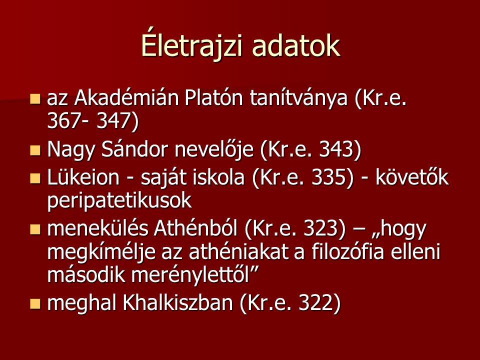 Életrajzi adatok az Akadémián Platón tanítványa (Kr.e. 367- 347)
