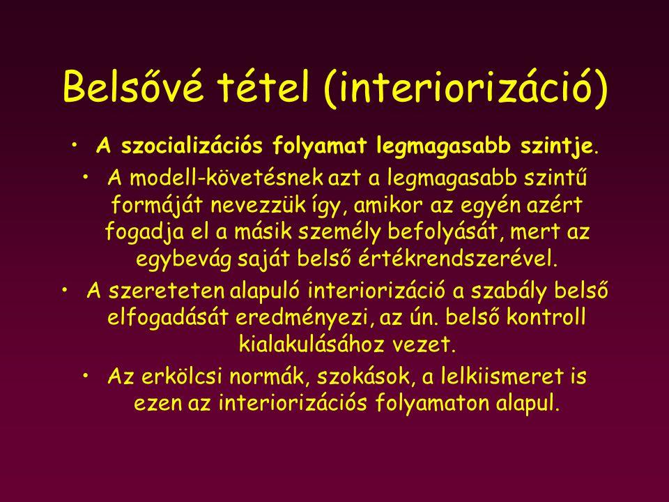 Belsővé tétel (interiorizáció)