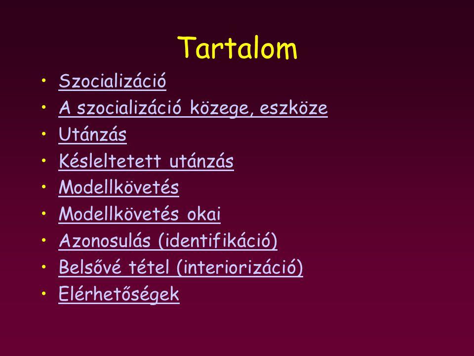 Tartalom Szocializáció A szocializáció közege, eszköze Utánzás
