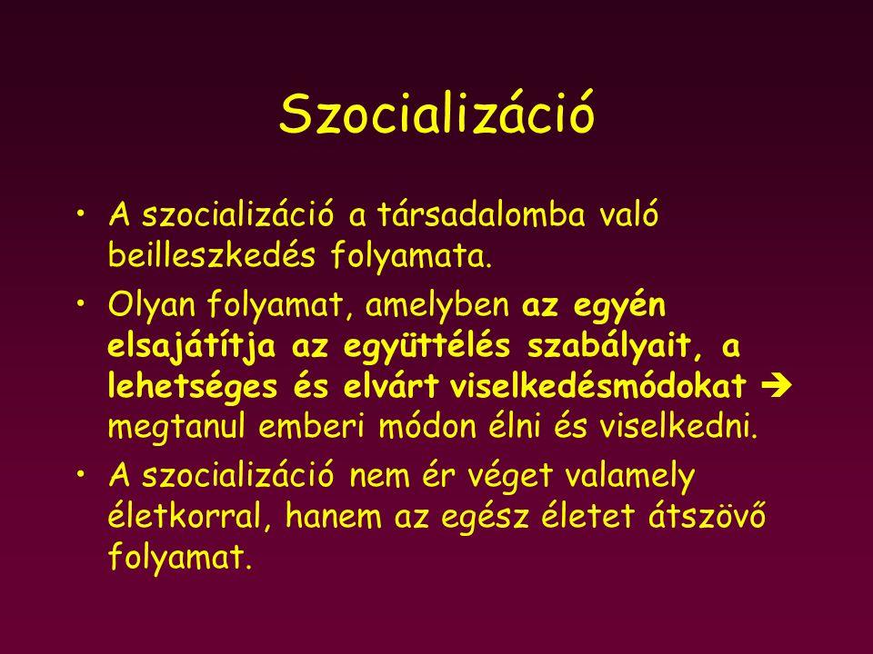 Szocializáció A szocializáció a társadalomba való beilleszkedés folyamata.