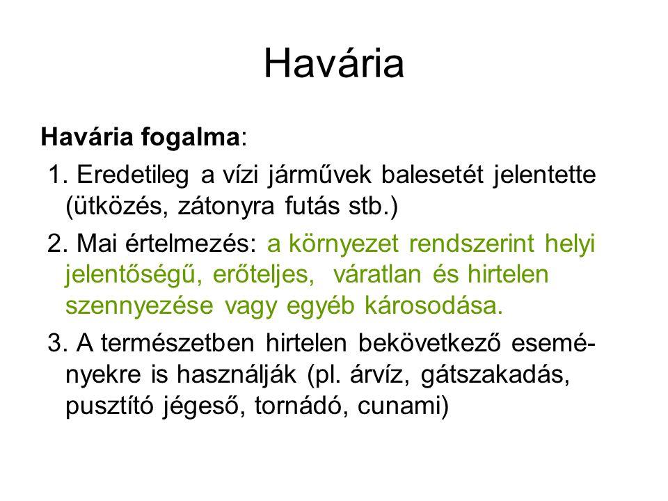 Havária Havária fogalma: