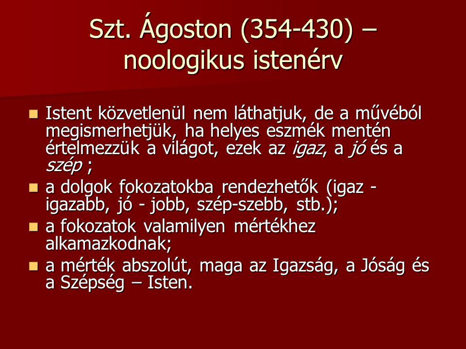Szt. Ágoston (354-430) – noologikus istenérv