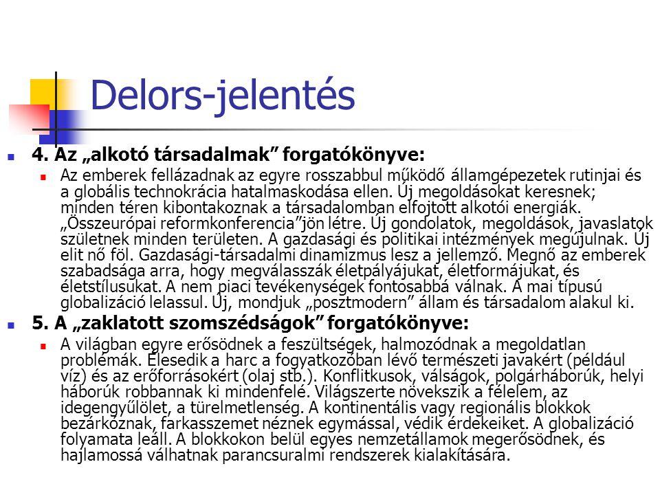 """Delors-jelentés 4. Az """"alkotó társadalmak forgatókönyve:"""
