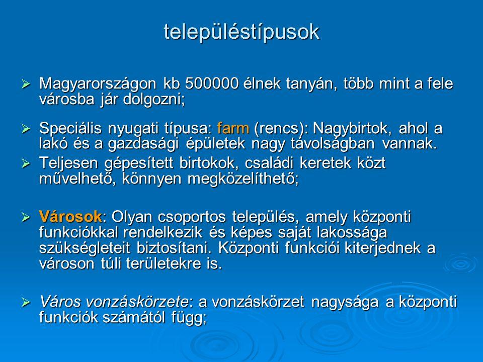 településtípusok Magyarországon kb 500000 élnek tanyán, több mint a fele városba jár dolgozni;