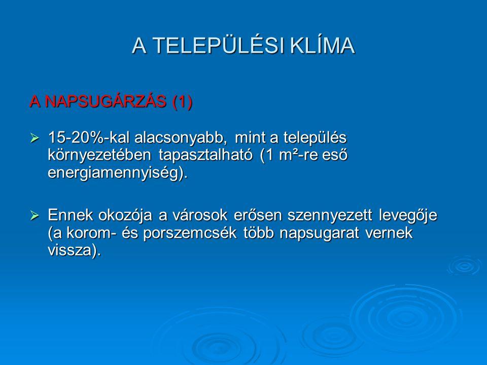A TELEPÜLÉSI KLÍMA A NAPSUGÁRZÁS (1)