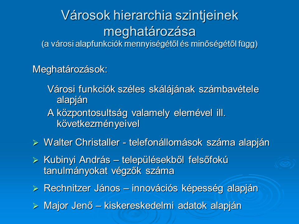 Városok hierarchia szintjeinek meghatározása (a városi alapfunkciók mennyiségétől és minőségétől függ)