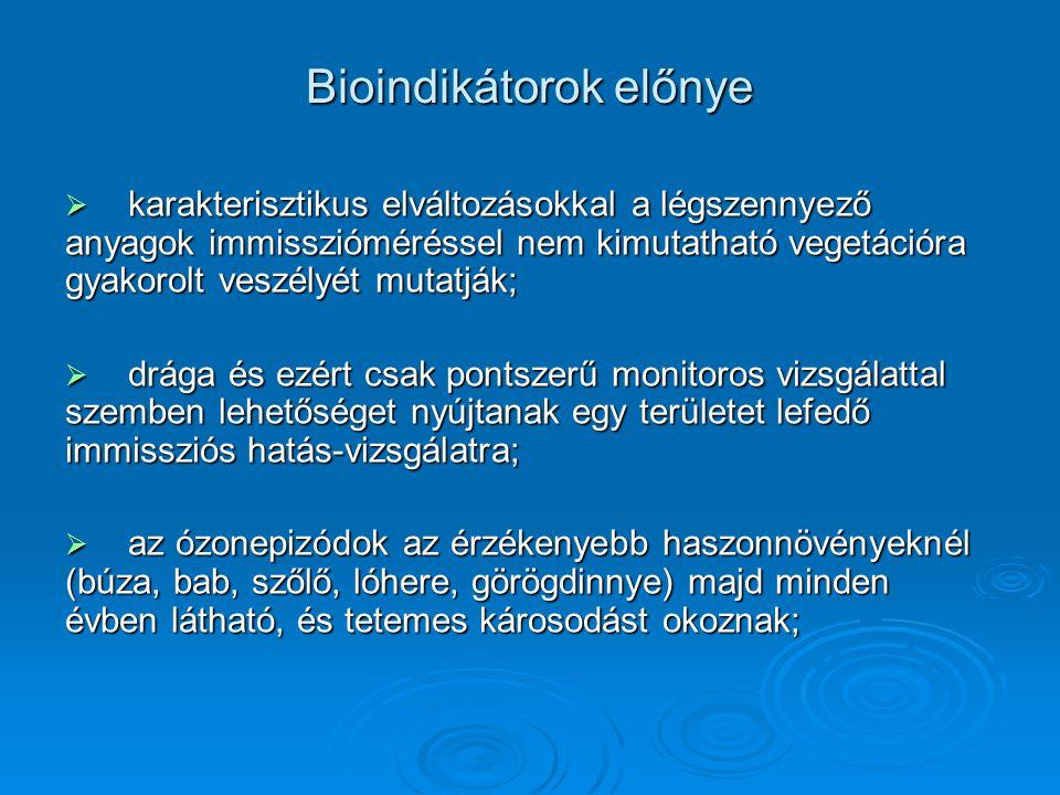 Bioindikátorok előnye