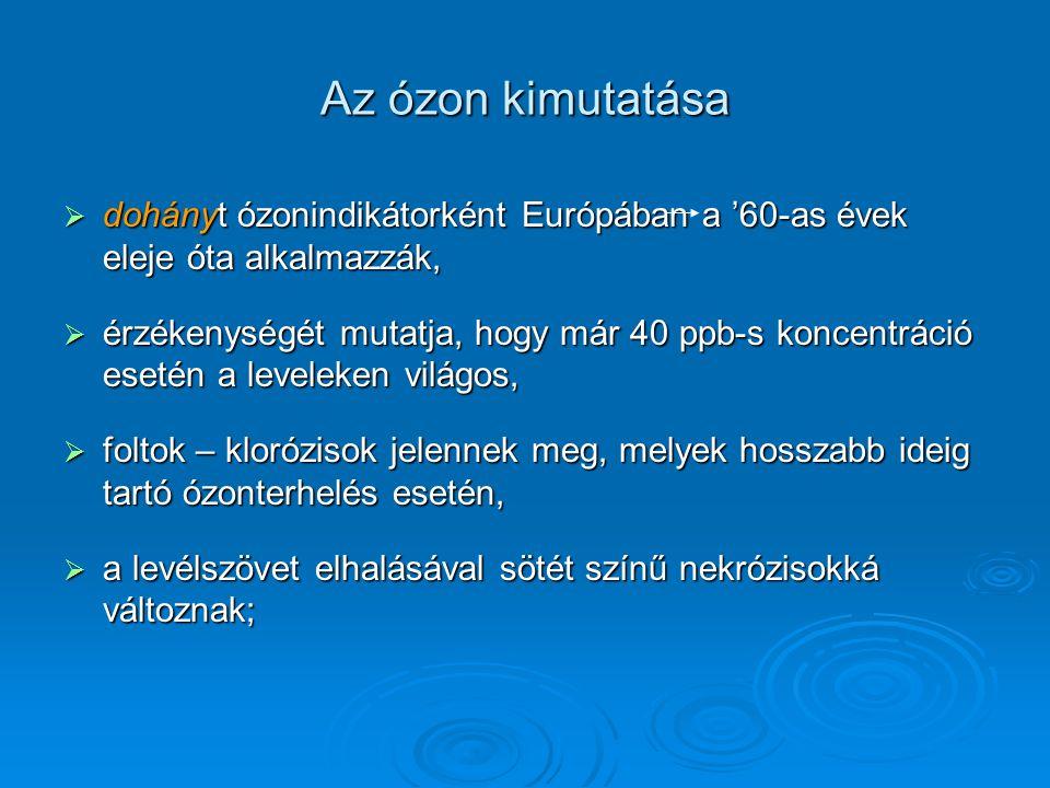 Az ózon kimutatása dohányt ózonindikátorként Európában a '60-as évek eleje óta alkalmazzák,