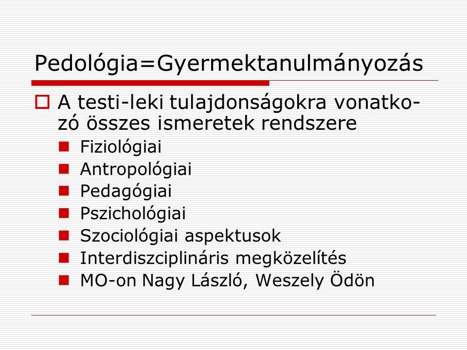 Pedológia=Gyermektanulmányozás