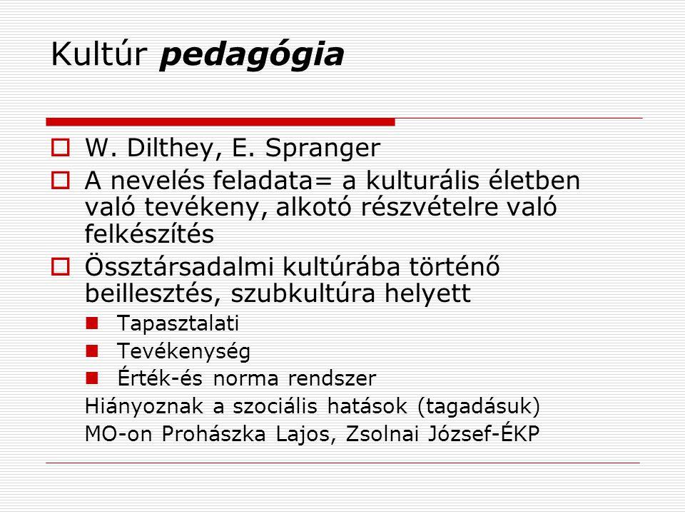 Kultúr pedagógia W. Dilthey, E. Spranger