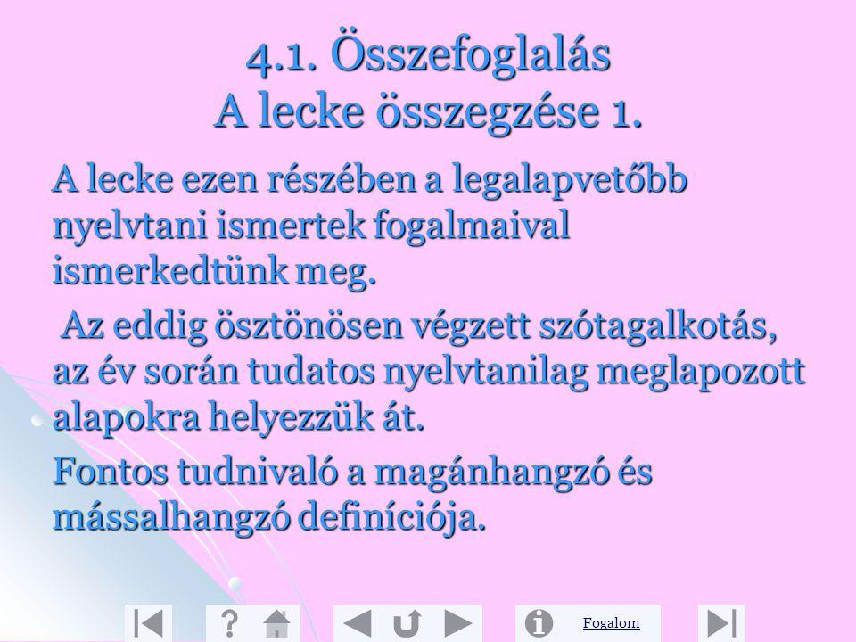4.1. Összefoglalás A lecke összegzése 1.