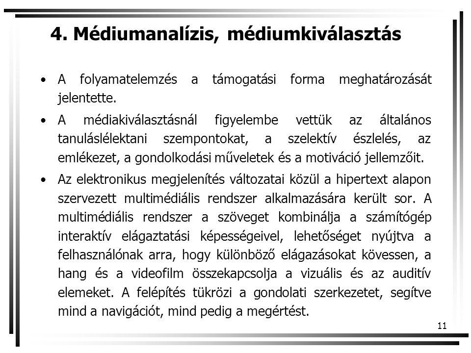 4. Médiumanalízis, médiumkiválasztás