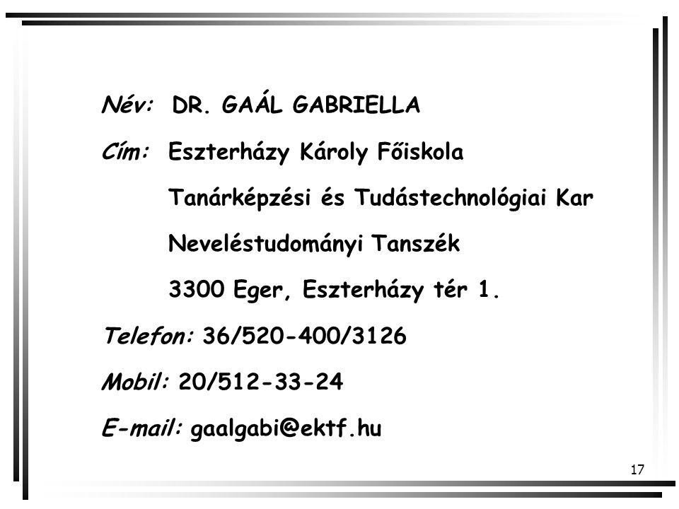 Név: DR. GAÁL GABRIELLA Cím: Eszterházy Károly Főiskola. Tanárképzési és Tudástechnológiai Kar. Neveléstudományi Tanszék.