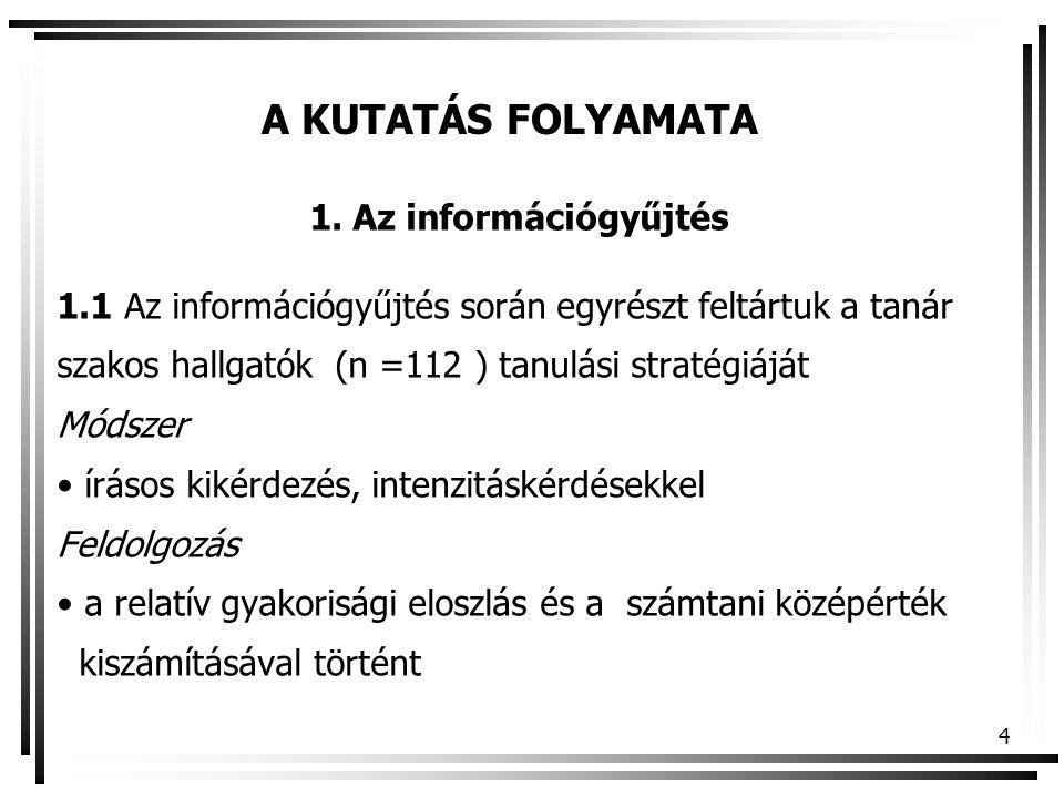 A KUTATÁS FOLYAMATA Az információgyűjtés. 1.1 Az információgyűjtés során egyrészt feltártuk a tanár.
