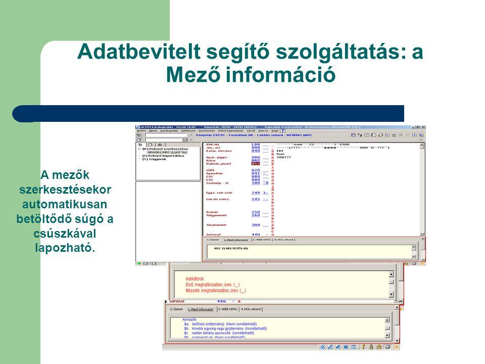 Adatbevitelt segítő szolgáltatás: a Mező információ