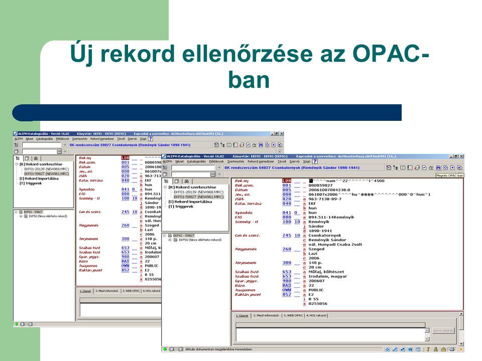 Új rekord ellenőrzése az OPAC-ban