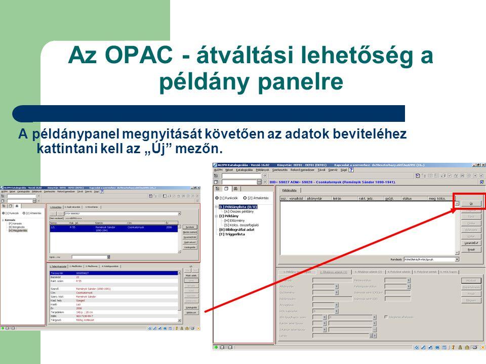 Az OPAC - átváltási lehetőség a példány panelre