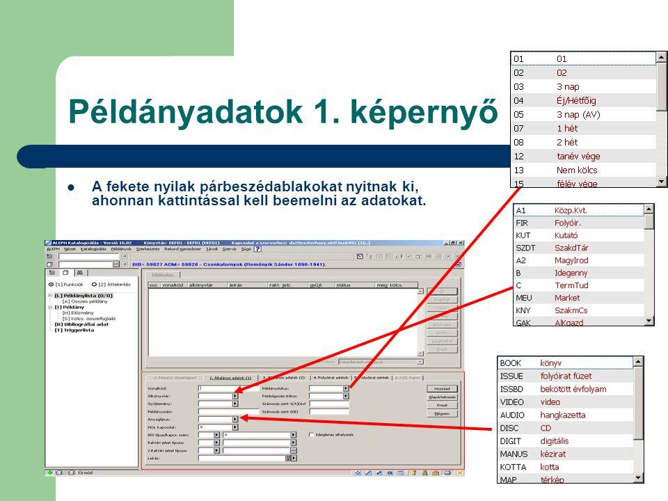 Példányadatok 1. képernyő