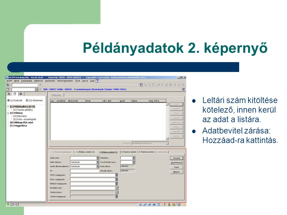 Példányadatok 2. képernyő