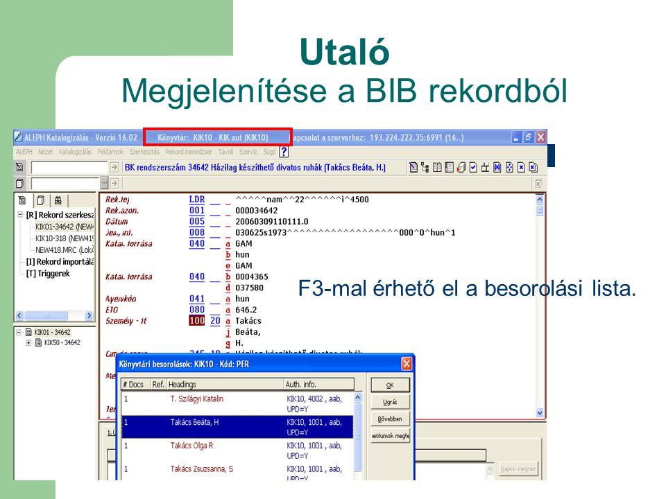 Utaló Megjelenítése a BIB rekordból