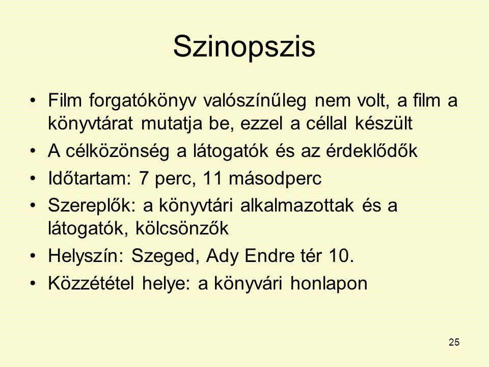 Szinopszis Film forgatókönyv valószínűleg nem volt, a film a könyvtárat mutatja be, ezzel a céllal készült.