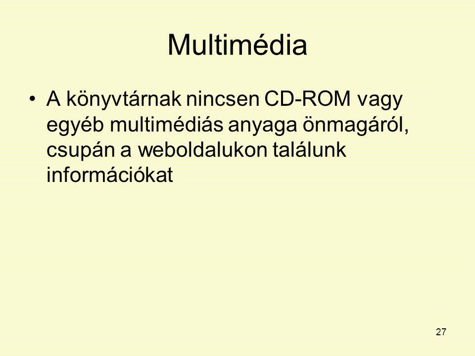 Multimédia A könyvtárnak nincsen CD-ROM vagy egyéb multimédiás anyaga önmagáról, csupán a weboldalukon találunk információkat.