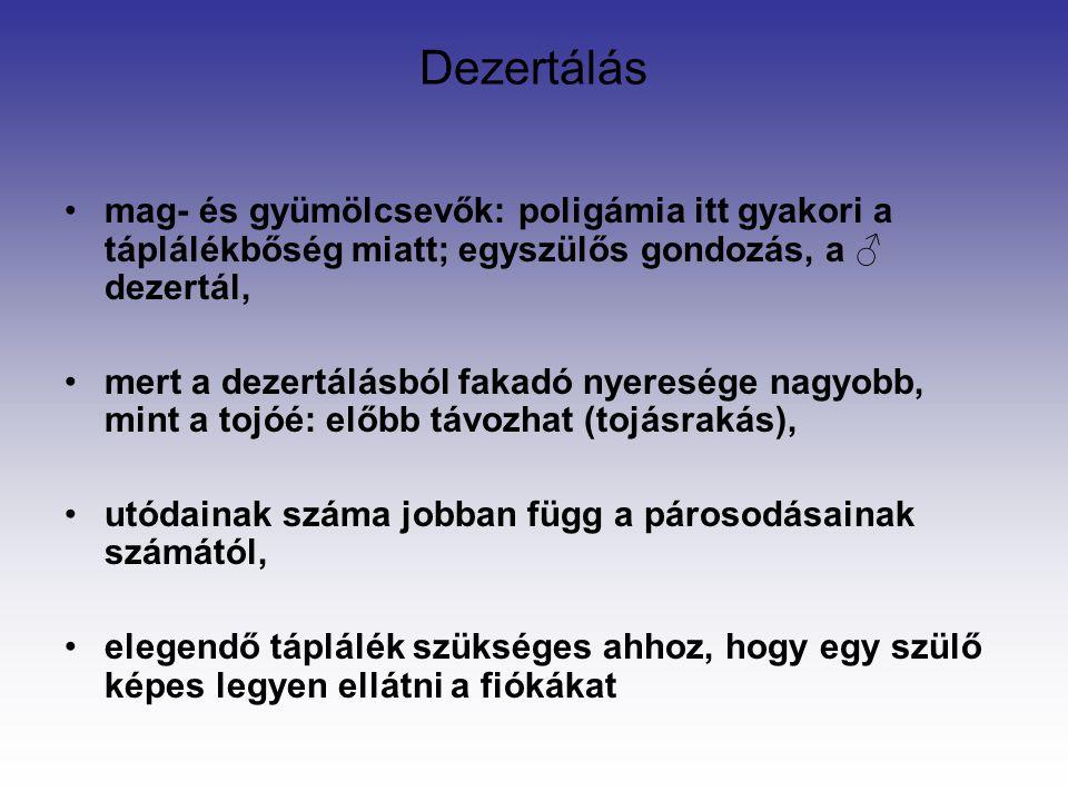 Dezertálás mag- és gyümölcsevők: poligámia itt gyakori a táplálékbőség miatt; egyszülős gondozás, a ♂ dezertál,