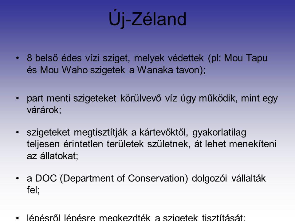 Új-Zéland 8 belső édes vízi sziget, melyek védettek (pl: Mou Tapu és Mou Waho szigetek a Wanaka tavon);