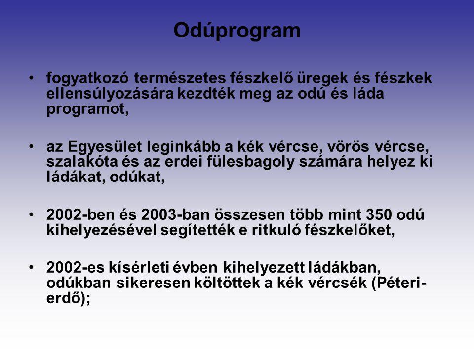 Odúprogram fogyatkozó természetes fészkelő üregek és fészkek ellensúlyozására kezdték meg az odú és láda programot,
