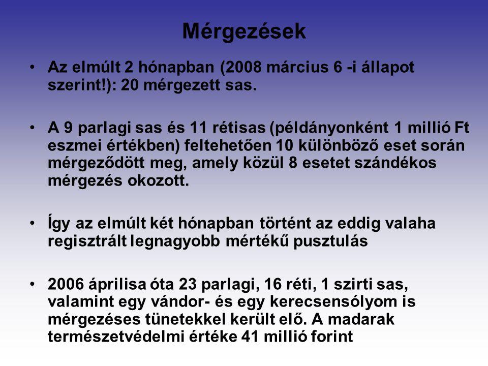 Mérgezések Az elmúlt 2 hónapban (2008 március 6 -i állapot szerint!): 20 mérgezett sas.