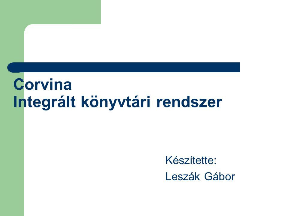 Corvina Integrált könyvtári rendszer