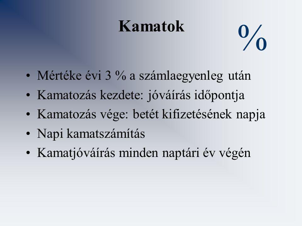 % Kamatok Mértéke évi 3 % a számlaegyenleg után