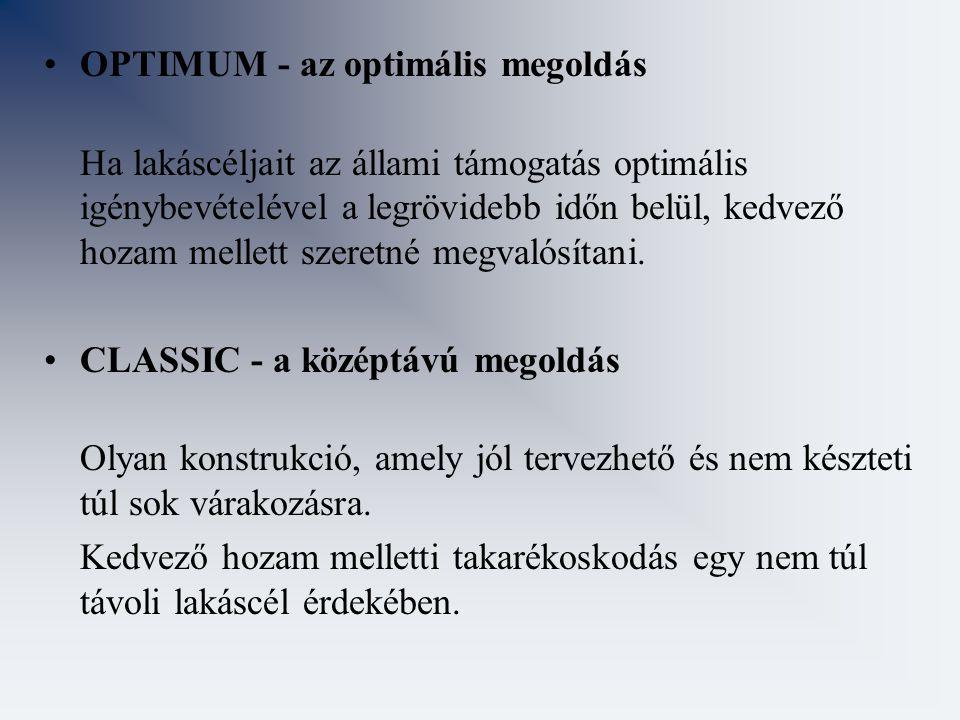 OPTIMUM - az optimális megoldás