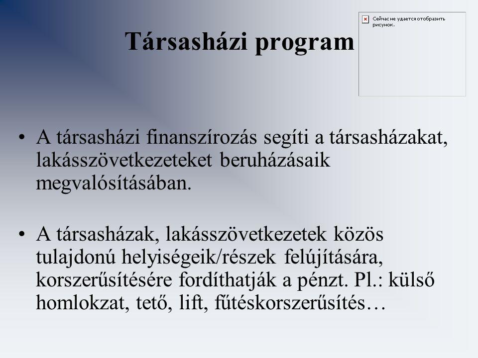Társasházi program A társasházi finanszírozás segíti a társasházakat, lakásszövetkezeteket beruházásaik megvalósításában.