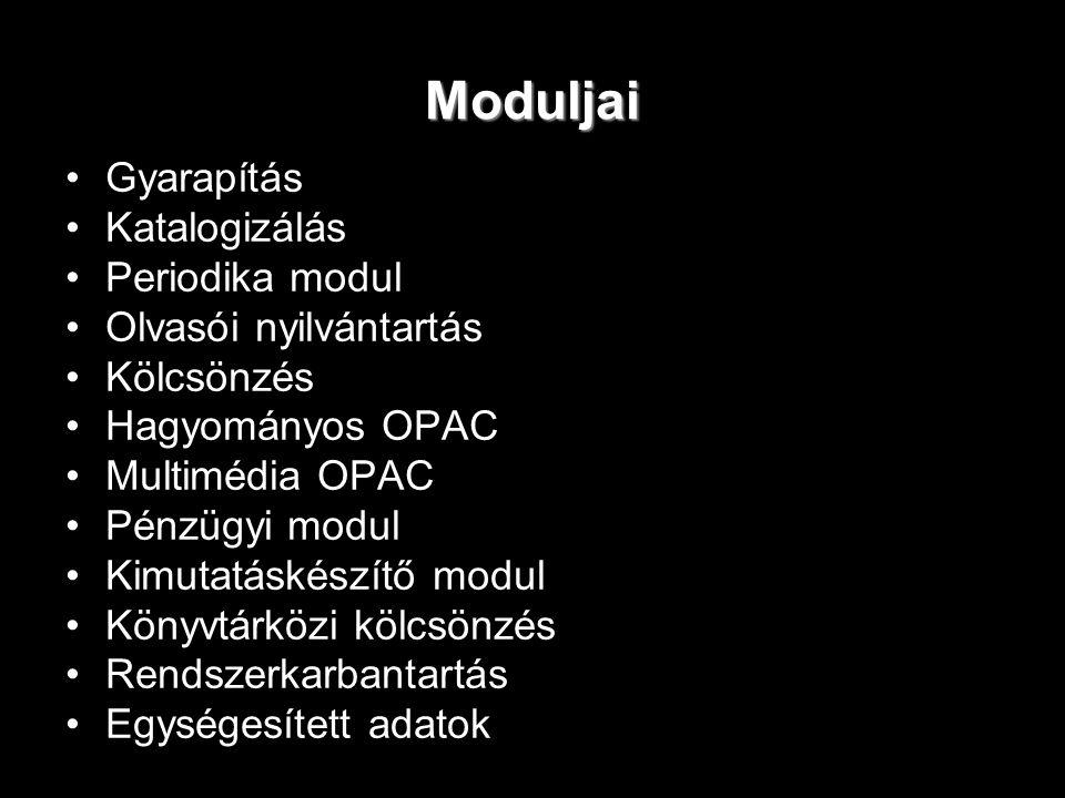 Moduljai Gyarapítás Katalogizálás Periodika modul