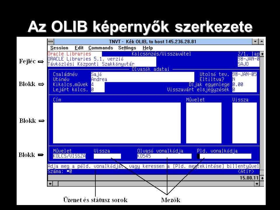 Az OLIB képernyők szerkezete